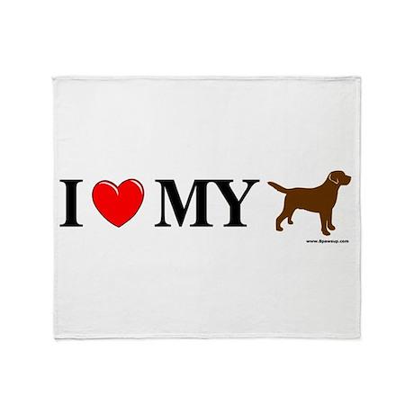 Love My Chocolate Lab Throw Blanket