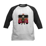 Fireman and Fire Engine Kids Baseball Jersey