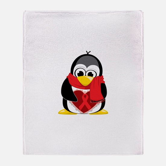 Red Ribbon Scarf Penguin Throw Blanket