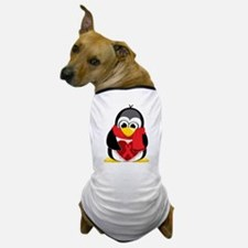 Red Ribbon Scarf Penguin Dog T-Shirt