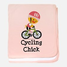 Cycling Chick baby blanket