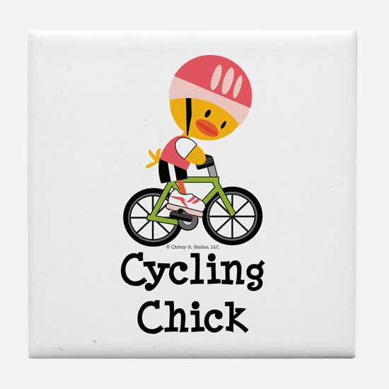 Cycling Chick Tile Coaster