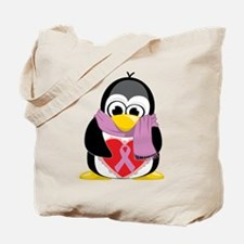 Orchid Ribbon Scarf Penguin Tote Bag