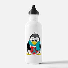 Teal Ribbon Scarf Penguin Water Bottle