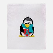 Teal Ribbon Scarf Penguin Throw Blanket