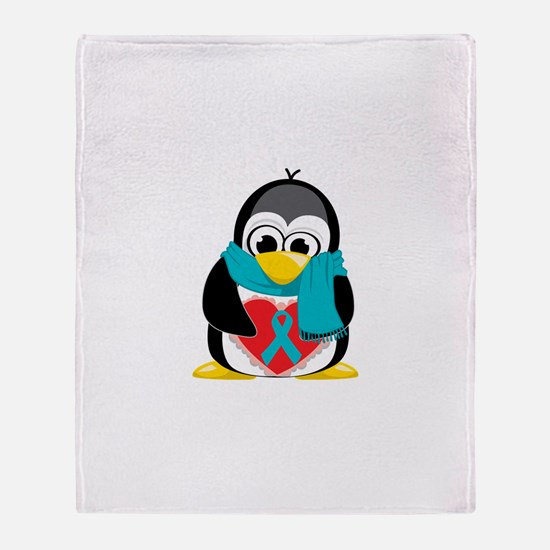 Teal Ribbon Scarf Penguin Throw Blanket