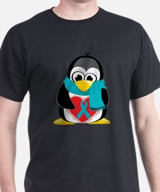 Teal Ribbon Scarf Penguin T-Shirt