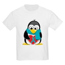 Teal Ribbon Scarf Penguin T-Shirt