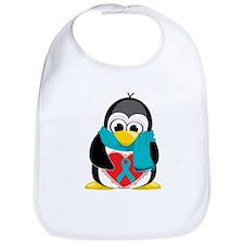 Teal Ribbon Scarf Penguin Bib