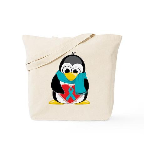 Teal Ribbon Scarf Penguin Tote Bag