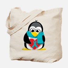 Teal Ribbon Scarf Penguin Tote Bag