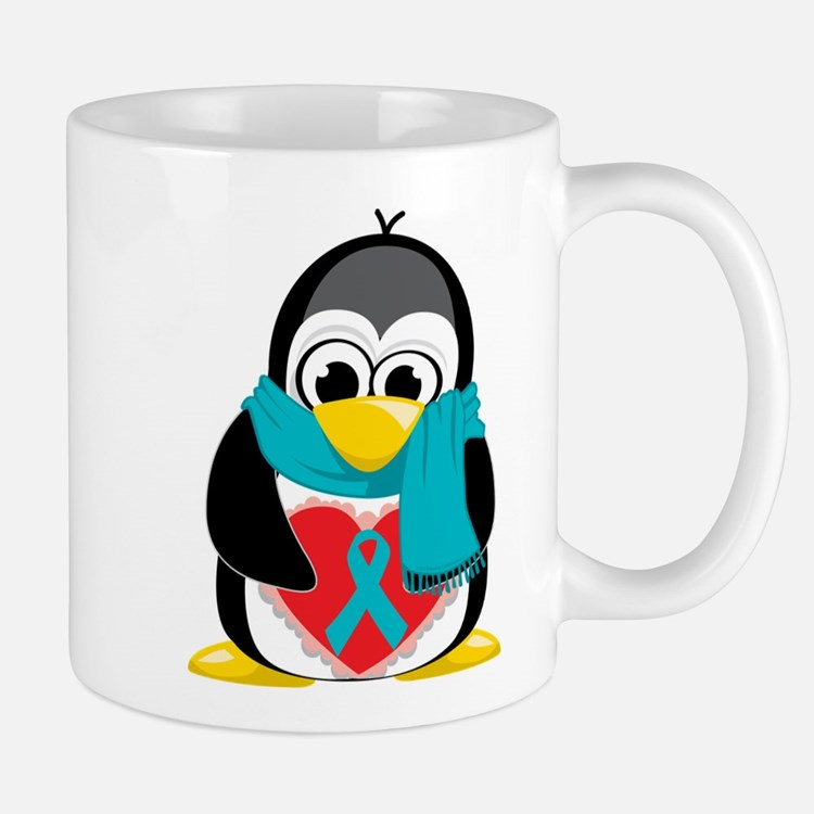 Teal Ribbon Scarf Penguin Mug