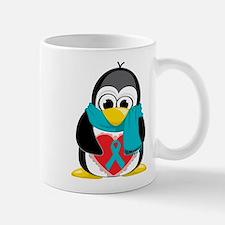 Teal Ribbon Scarf Penguin Small Mugs