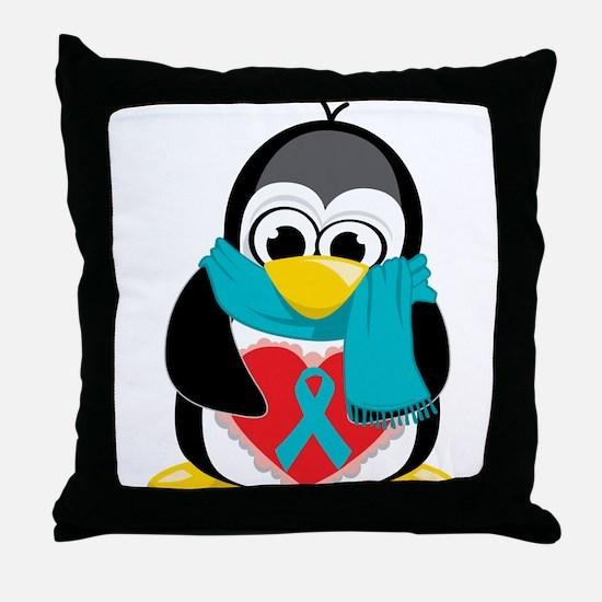 Teal Ribbon Scarf Penguin Throw Pillow