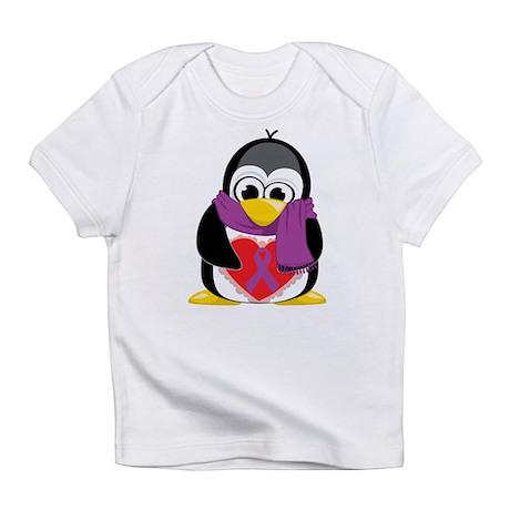 Purple Ribbon Scarf Penguin Infant T-Shirt