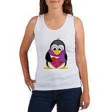 Purple Ribbon Scarf Penguin Women's Tank Top