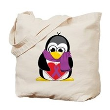 Purple Ribbon Scarf Penguin Tote Bag