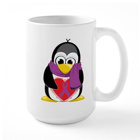 Purple Ribbon Scarf Penguin Large Mug