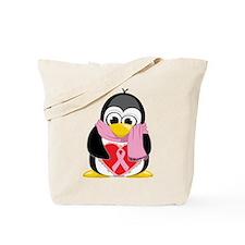 Pink Ribbon Scarf Penguin Tote Bag