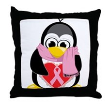 Pink Ribbon Scarf Penguin Throw Pillow