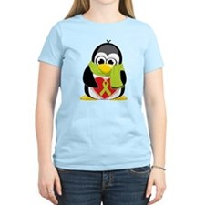 Lime Green Ribbon Penguin Sca T-Shirt