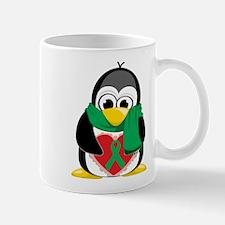 Green Ribbon Penguin Scarf Mug