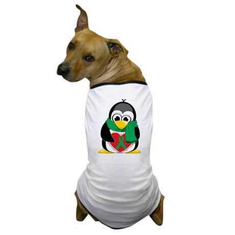 Green Ribbon Penguin Scarf Dog T-Shirt