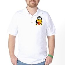 Gold Ribbon Penguin Scarf T-Shirt