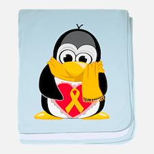 Gold Ribbon Penguin Scarf baby blanket