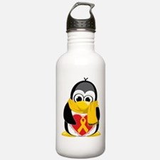 Gold Ribbon Penguin Scarf Water Bottle