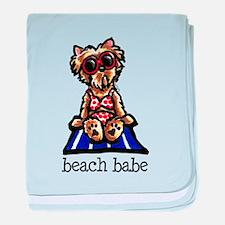 Beach Yorkie baby blanket