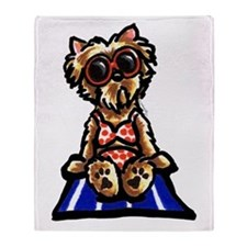 Beach Yorkie Throw Blanket