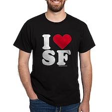 I Love San Francisco (SF) - Black T-Shirt