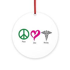 Peace, Love, Nursing Ornament (Round)