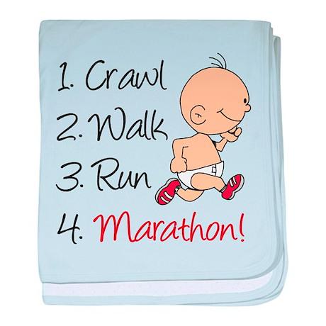 Crawl, Walk, Run Marathon baby blanket