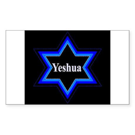 Yeshua Star of David (Blk) Rectangle Sticker