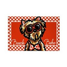 Beach Yorkie Rectangle Magnet