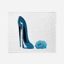 Periwinkle Blue Stiletto Shoe Throw Blanket