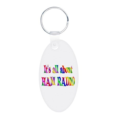 About Ham Radio Aluminum Oval Keychain