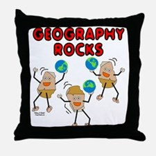 Three Geography Rocks Throw Pillow