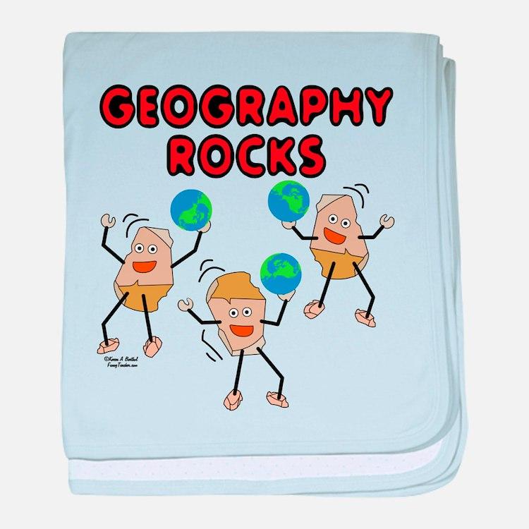 Three Geography Rocks baby blanket