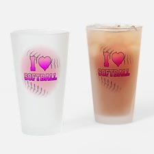 I Love Softball (Pink Softball) Drinking Glass