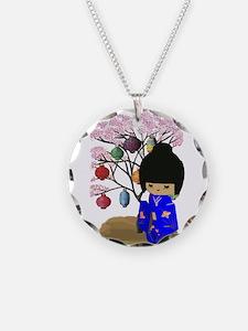 Blue Kawaii Kokeshi Doll Necklace