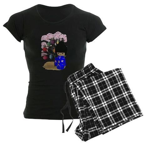 Blue Kawaii Kokeshi Doll Women's Dark Pajamas