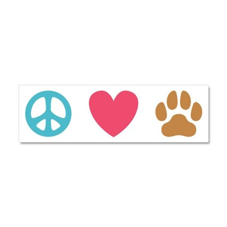 Peace Love Dogs [st] Car Magnet 10 x 3