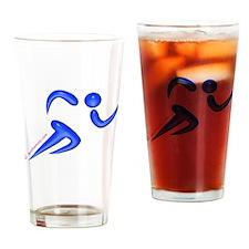 Running Blue Pint Glass