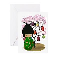 Green Kawaii Kokeshi Doll Greeting Cards (Pk of 10