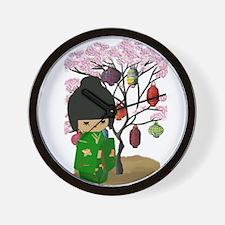Green Kawaii Kokeshi Doll Wall Clock