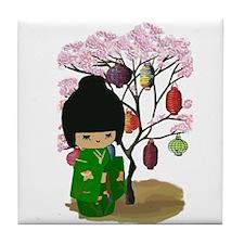 Green Kawaii Kokeshi Doll Tile Coaster