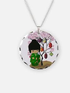 Green Kawaii Kokeshi Doll Necklace